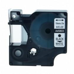 COMPATIBLE CON Brother TZe145 Cinta Laminada Generica de Etiquetas - Texto blanco sobre transparente - Ancho 18mm x 8 metros